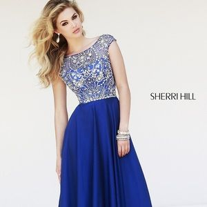 Sherri Hill Cap Sleeve Navy Prom Dress 32017 💙